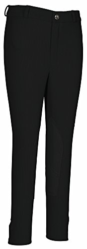 TuffRider Kid's Ribb Knee Patch Breeches, Black, (Boys Breeches)