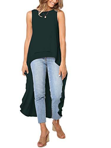 MISSLOOK Women's Lantern Long Sleeve Tops High-Low Hem Tunic Round Neck Asymmetrical Irregular Hem Casual Blouse Shirt Dress - Dark Green-4 XXL]()