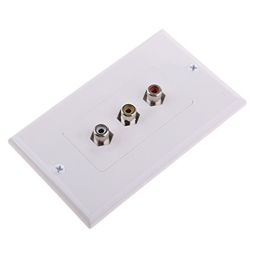 Dovewill 3-RCA Wall Face Plate Component Video Audio AV Gold Plated Jacks White US ()