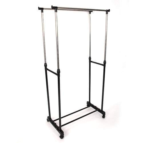 SL&VE Dual bar Vertical Horizontal Stretching Stand Clothes Rack with Shoe Shelf-Black by SL&VE (Image #2)