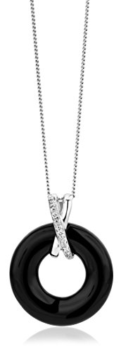 Miore - MG9049N - Collier avec Pendentif Femme - Or Blanc 375/1000 (9 carats) 1.62 gr - Diamant/Agate - 45 cm