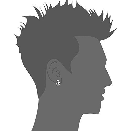 Oidea Bijoux 4paires Boucles d'oreilles Homme Anneaux à Charnière Acier Inoxydable Poli Fantaisie pour Homme Femme Avec Sac Cadeau Couleur Or Bleu Noir Argent