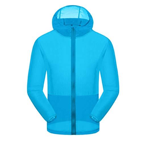 TnaIolral Women Men Windproof Top Summer Outdoor Bicycle Sports Quick Dry Windbreaker Coat Jacket (Sky Blue, L)