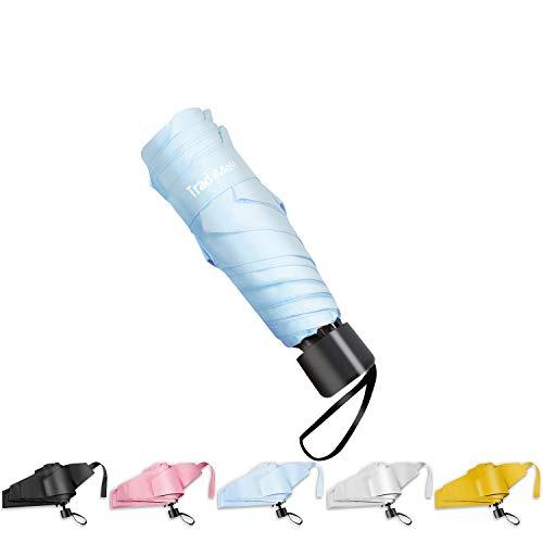TradMall Mini Travel Umbrella, 6 Ribs Portable Lightweight Compact Parasol with 95% UV Protection for Sun & Rain, Sky Blue (Lights With Rain Umbrella)