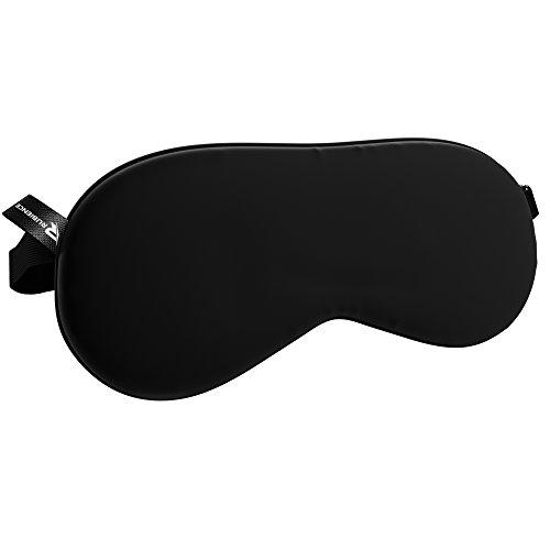 Sleep Mask – Black Silk Sleeping Eye Mask by Rubience – Comfortable Sleep Aid Blindfold For Women & Men