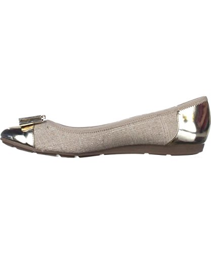 Anne Klein Womens Aricia Fabric Closed Toe Slide Flats, Gold, Size 5.0