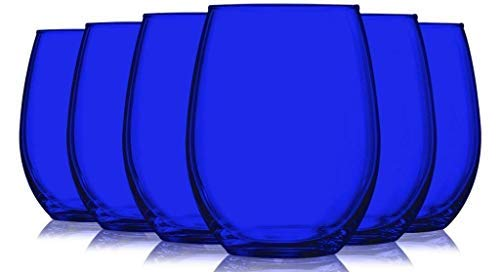 (Stemless Wine Glasses Fully Colored Cobalt Blue Beverage Glass- 15oz. Set of 6 - Additional Vibrant Colors Available)