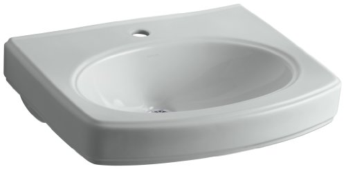 Grey Pinoir Pedestal Lavatory - KOHLER K-2028-1-95 Pinoir Bathroom Sink Basin with Single-Hole Faucet Drilling, Ice Grey