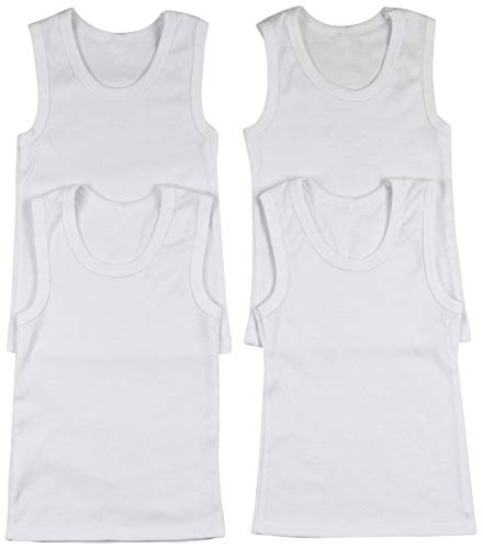 ToBeInStyle Boys' 4 Pack Double Needle Hem Tank Tops - White - Size - Toddler Sleeveless