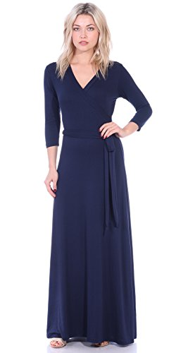 (Popana Womens Casual Faux Wrap Long Floral Maxi Dress 3/4 Sleeves - Made in USA Medium Navy)