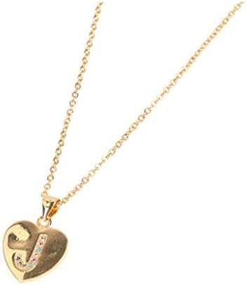 Stainless Steel Peach Heart Letter Necklace Round Disc Double Side Engraved Hammered Alphabet Letter Pendant (Y) / Stainless Steel Peach Heart Letter Necklace Round Disc Double Side Engraved Hammered Alphabet Letter Pendant (Y)
