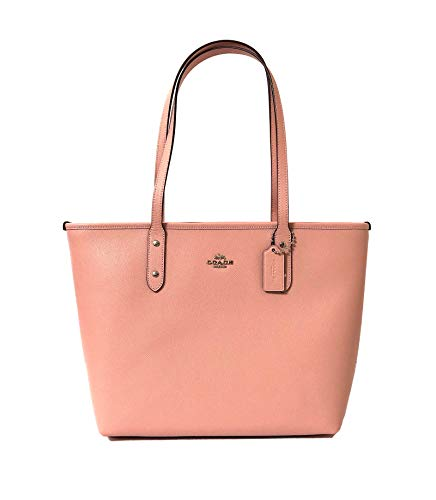 (Coach City Crossgrain Leather Tote (SV/Petal) )