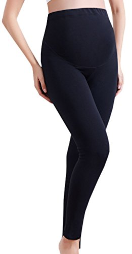 Clothes Cotton Maternity (Vocni Women's Comfortable Maternity Cotton Leggings Full Ankle Length Pregnancy Black US XL-Asia Tag 3XL)