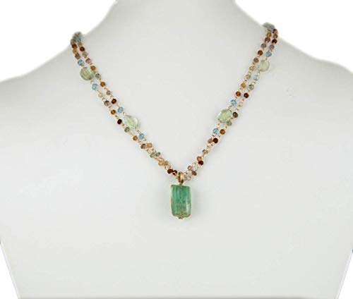 14K Gold Emerald Pendant Double Necklace Amethyst Garnet, used for sale  Delivered anywhere in USA
