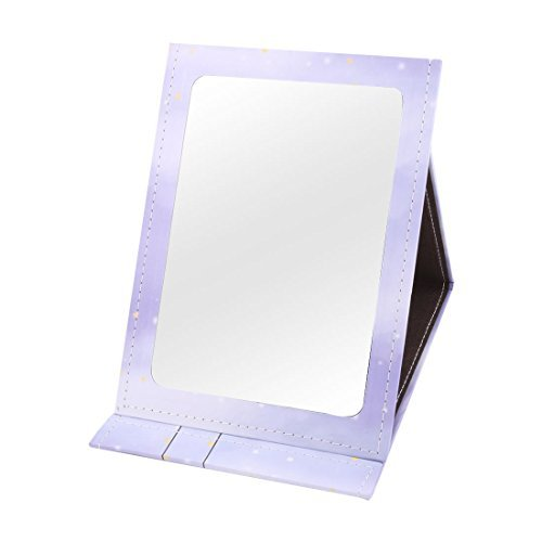 DealMux Paper Coated Women Lady Swing Girl Pattern Cover Folding Makeup Cosmetic Mirror Purple