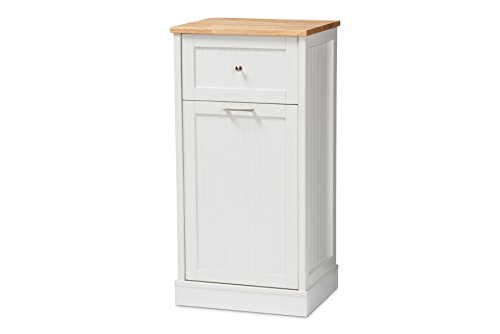 Baxton Studio 147-424-8320-AMZ Monica Kitchen Cabinet, White/Oak Brown