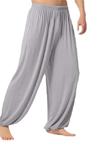 Comaba Men's Classic Yoga Athletic Pure Color Ruched Wide Leg Chino Pant Light Grey XL