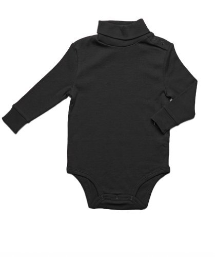 Leveret Long Sleeve Baby Boys Girls Bodysuit Turtleneck 100% Cotton Baby Underwear (Black, 24 -