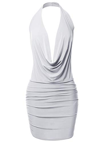 Made by Emma Sexy Halter Neck Ruched Bodycon Backless Party Cocktail Mini Dress White M