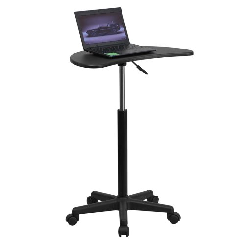 Mobile Laptop Computer Desk Table with Black Top and Adjustable Height