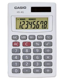 CASIO HS4G 8 DIGIT MINI - SOLAR BASIC CALCULATOR [HS4G] -