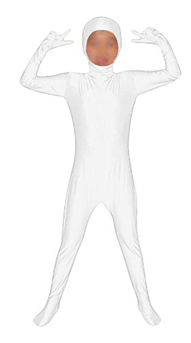 Seeksmile Kids Costume Full Body Lycra Zentai Suit Face Open (Kids Small, White) -