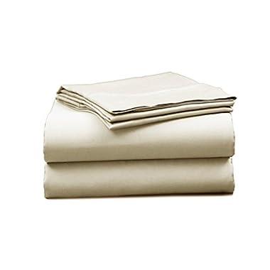 Elles Bedding Collections 1000 Thread Count Bedspread 100% Cotton Sheet Set Sateen Weave Deep Pocket Premium Quality Bedding Set Ivory Queen