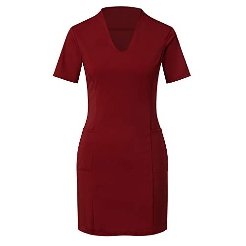 URIBAKE ♥️ Women's Sexy V Neck Mini Dress Solid Short Sleeve Slim Nightdress Pencil Dress with Pocket -