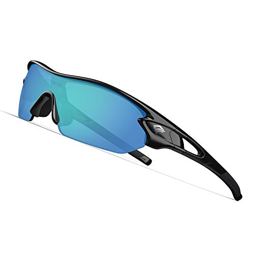 TOREGE Polarized Sports Sunglasses with 5 Interchangeable Lenes for Men Women Cycling Running Driving Fishing Golf Baseball Glasses TR002 (Black&Ice Blue ()