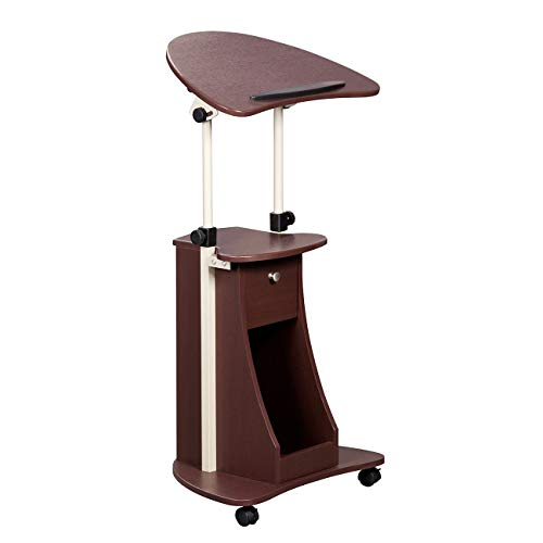 Height Adjustable Laptop Cart With Swivel Top And Storage. Color: Chocolate ()