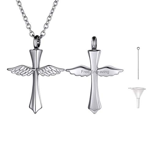 FaithHeart Engraving Cremation Urn Necklace, Women Men 316L Stainless Steel Memento Jewelry, Pet Ashes/Perfume Heart Keepsake Waterproof Pendant Necklace for Memory, Cross Wing Gift Necklace ()