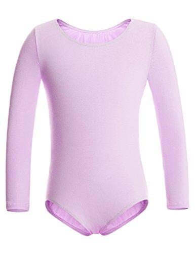 MAGIC TOWN Long Sleeve Leotard for Toddler Girls Ballet Dance (6-8,Purple) ()