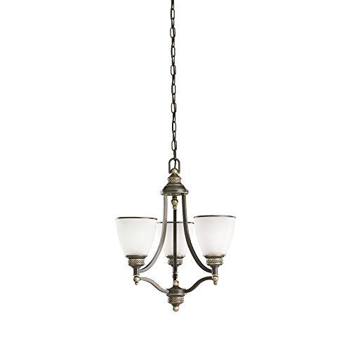 Sea Gull Lighting 31349-708 Laurel Leaf Three-Light Chandelier with Etched Ripple Glass Shades, Estate Bronze Finish
