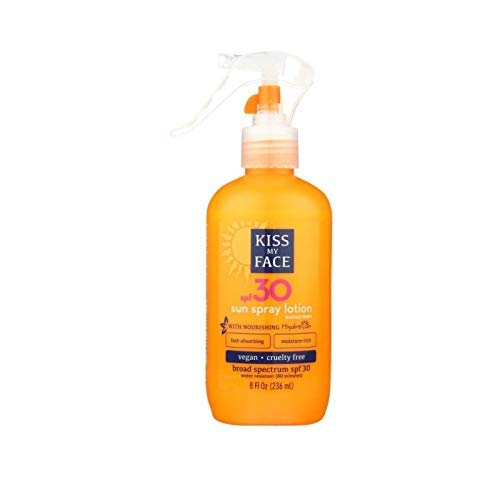 Kiss My Face Sun Spray Lotion SPF30 Sunscreen 8 - Lotion 8 Oz Spray Bottle