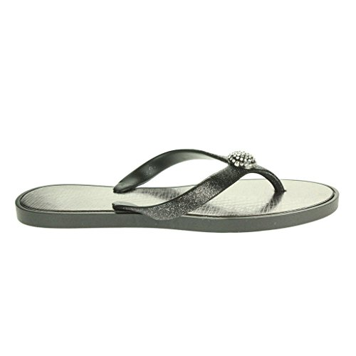 Mujer Señoras Cristal detallado Toe Post Cada día Ligero Casual Confort Ponerse Plano Sandalias Zapatos Tamaño Negro