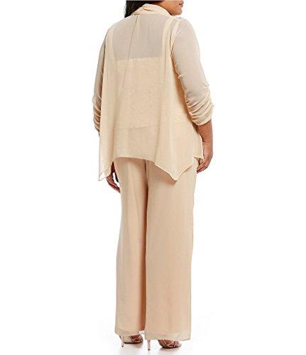 Emma Street 995002 Plus Size Chiffon Pant Suit Combo, Champagne, 18W