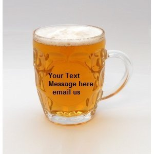 Glass Half Pint Dimple tankards 10oz personalised up to 25 Letters in silk lined gift box by Sports Trophy