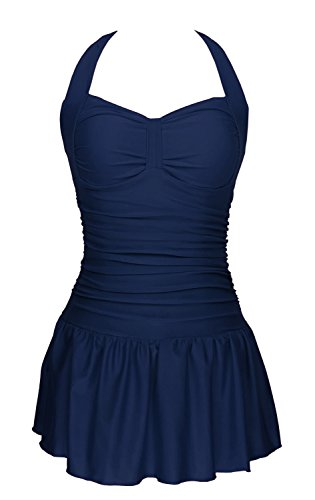 Women's One Piece Ruched Push Up Tummy Control Swimdress Tankini Swimsuit