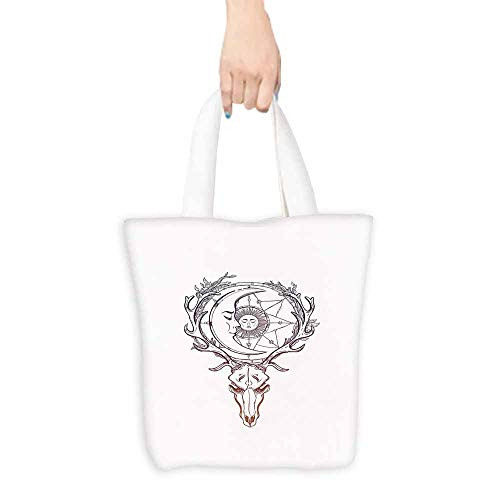 Sun Shopping Bag Tattoo Style Animal Skull with Celestial Star Shape Antlers Doodle Foldable 16.5
