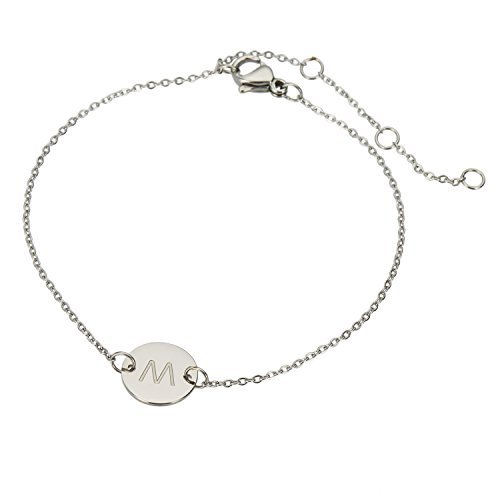 HUAN XUN Stainless Steel M Initial Bracelet Bridesmaid Gift Wedding
