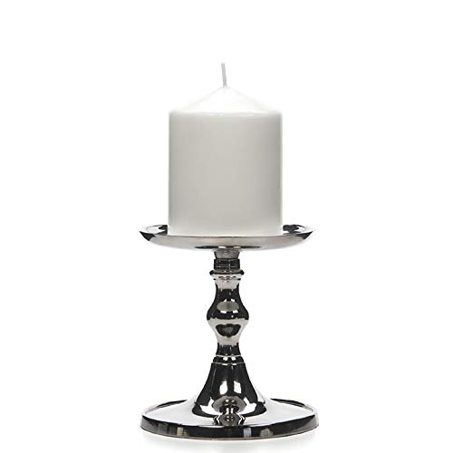 """Hosley Set of 2 Silver Finish Pillar Holder, 5"""" High. Ideal Gift for Wedding, Party, Special Occasion or as a Candle Holder. W1"""
