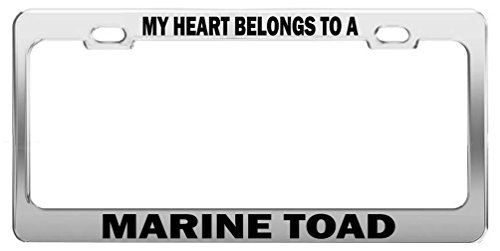 MY HEART BELONGS TO A MARINE TOAD Tag License Plate Frame Car Accessories -  General Tag, MY HEART 1077
