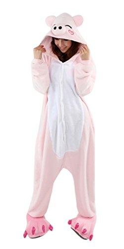 Aurora Bridal Unisex One Piece Pajamas Cosplay Animal Costume Sleepwear Pink Pig M (Plus Size Squirrel Costume)