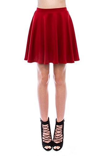 SR Women's Basic Stretchy Flared Skater Skirt (XS-3X), XL, N.Red