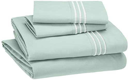 AmazonBasics Embroidered Hotel Stitch Sheet Set - Premium, Soft, Easy-Wash Microfiber - Queen, Seafoam Green