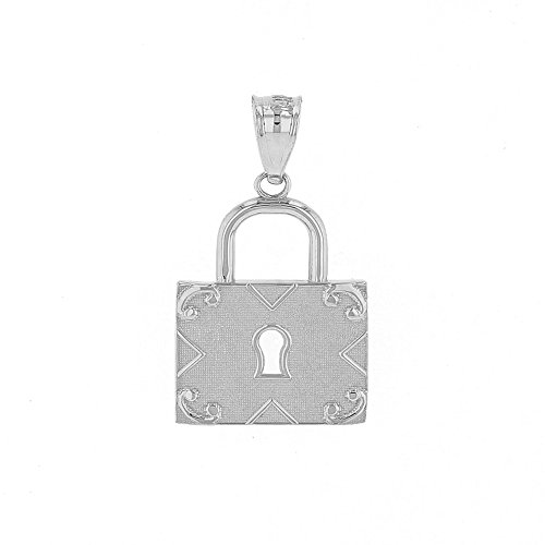 Fine 925 Sterling Silver Swirl Square Padlock Charm Pendant