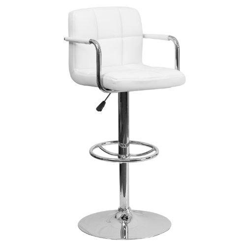 Height Adjustable Arms - Flash Furniture Contemporary White Quilted Vinyl Adjustable Height Barstool with Arms and Chrome Base