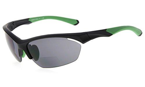 Eyekepper TR90 Sports Bifocal Sunglasses Baseball Running Fishing Driving Golf Softball Hiking Half-Rimless Reading Glasses (Black Frame Green Temple, 1.25)