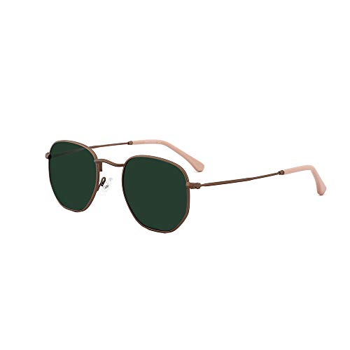 OQ CLUB Small Square Polarized Sunglasses for Men Women Hexagon Shape Lens(Bronze Frame/Dark Green Lens)