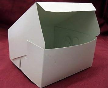 AVM - Caja de cartón para pasteles (10 unidades, 15 x 15 x 7 cm aprox.), color blanco: Amazon.es: Hogar